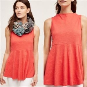 Anthropologie-Deletta-Mock Neck Sway Coral Tank